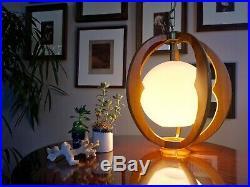 Amazing Vintage Mid Century Modern Danish Style Teak Hanging Pendant Lamp