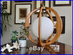 Amazing Vintage Mid Century Modern Teak Hanging Pendant Lamp