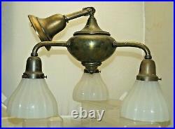 Antique 1920s 30s Art Deco Bridge Arm Ceiling Light Lamp Milk Glass Shades