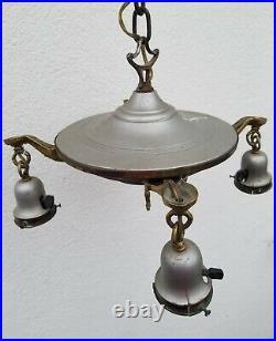 Antique Art Deco Ceiling Fixture Light Lamp Chandelier Hanging Tassel Metal P&S