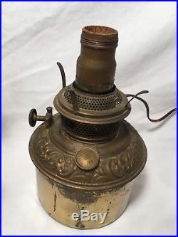 Antique Bradley Hubbard Hanging Parlor Lamp Vtg Library Oil Light Fixture Cabin
