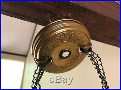 Antique Brass Hanging Converted Oil Lamp Painted Glass Shade 1800s VTG Electric