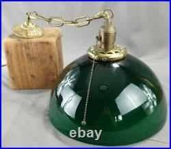 Antique Cased Green Glass Brass Hanging Pendant Chandelier Ceiling Light Lamp