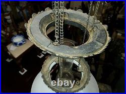 Antique Early Iron Kitchen Hanging Victorian Oil Lamp Chandelier Beautiful