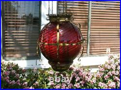 Antique GWTW Victorian HANGING HALL or ENTRY LAMP, Ruby Red Swirled Art Glass
