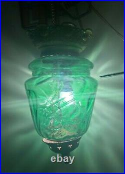 Antique Green Glass Hanging Pendel Chain Ceiling Lamp