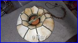Antique Hanging Arts & Crafts Slag Glass Panel Swag Pendant Lamp Vintage