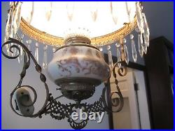 Antique Hanging Brass Oil Lamp Hand Painted Chandelier
