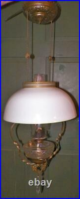 Antique Hanging Lamp Kerosene Kitchen Brass Frame White Shade Frosted Font As Is