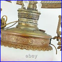 Antique Hobnail Cranberry Satin Glass Library Parlor Hanging Lamp Electrified