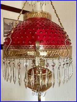 Antique Miller Hanging Oil Lamp Library Parlor Kerosene