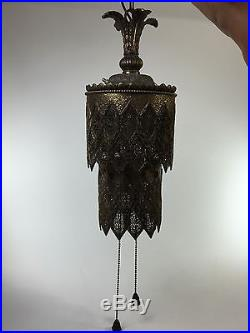 Antique Moroccan CHANDELIER Brass Hanging Pendant Lamp Vintage MCM Tiered 815