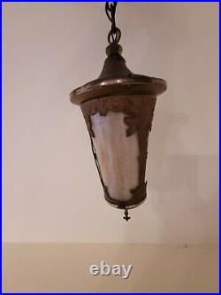 Antique Slag Glass Hanging Light Fixture Lamp