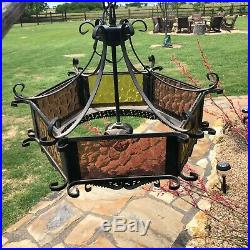 Antique Spanish Hanging Gothic Light Fixture w Ceiling Canopy Vintage Swag Lamp