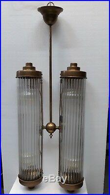 Antique Vintage Art Deco Fixture Ceiling Brass Hanging Light Glass Rod Lamp