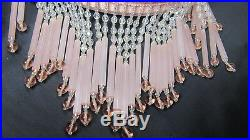 Antique Vintage Beads Hanging Pink Glass Lamp French Art Deco Brass Chandelier