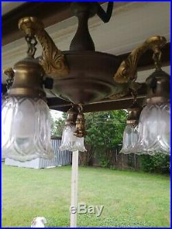 Antique Vintage Brass Chandelier Hanging Ceiling Fixture Lamp 5 Light