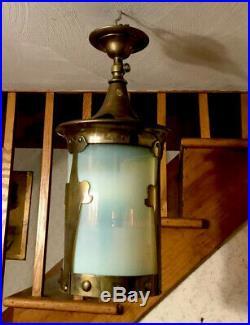 Antique Vintage Ceiling Lamp Hanging Pendant Brass Blue Glass Gothic Art Deco
