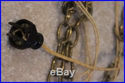 Antique Vintage HANGING SWAG LIGHT Brass Chain hung plug in Pendant LAMP Asian