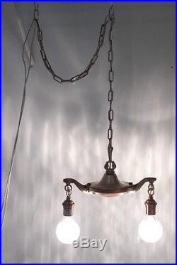 Antique Vintage Hanging Swag Light Fixture Lamp Chandelier Great