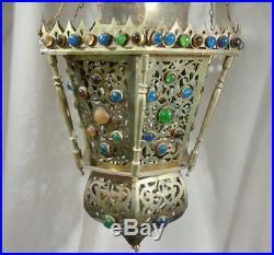 Antique Vintage Large Jeweled Brass Hanging Lamp 27