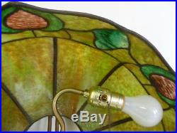 Antique Vintage Leaded Stained Slag Glass Hanging Light Shade Free Shipping