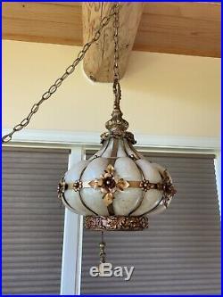 Antique Vintage Mid Century Regency Swag Hanging Glass Lamp