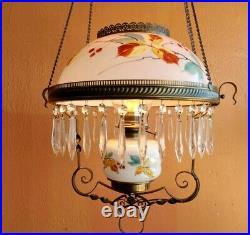 Antique Vintage Oil Lamp Light Fixture Parlor Victorian Brass Hanging Chandelier
