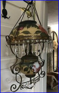 Antique Vintage Victorian Gone With The Wind Hanging Electric Oil Lamp Success