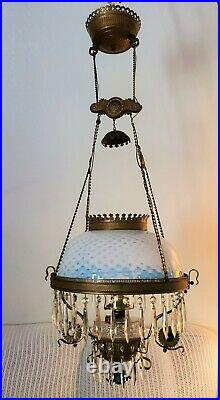 Antique Vintage Victorian Hanging Parlor Library Lamp Rare Opalescent Lampshade