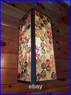 Antique Vtg 1960s-70s Retro MCM Glass Candy Stone/Marble Hanging Swag Light/Lamp