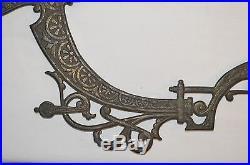Antique Vtg Art Deco Hanging Oil Parlor Lamp Brass Halo Finial Part