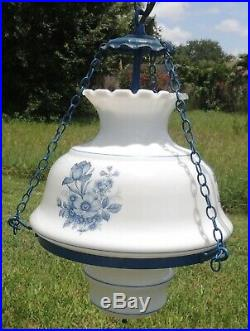 Antique/Vtg BLUE Gone with The Wind GWTW Hurricane Hanging Swag Lamp Chandelier