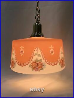 Antique Vtg Bellova Glass Shade Art Deco Pendant Light Hanging Lamp Chandelier
