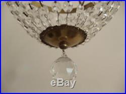 Antique Vtg Brass & Czech Crystal Bag Basket Xtra Petite Chandelier Hanging Lamp