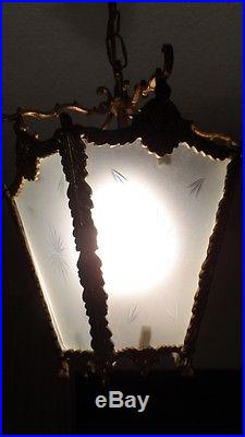 Antique Vtg Brass Etched Frosted Star Glass Chandelier Lantern Hall Hanging Lamp