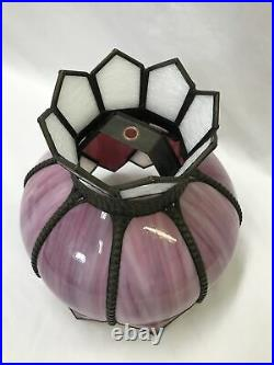 Antique Vtg Deco Double Tulip Bent Slag Stained Glass Lamp Shade Pink White 10