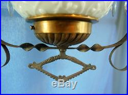 Antique Vtg Hand Painted Farm Hanging Parlor Chandelier Oil Lamp Prisms Pull