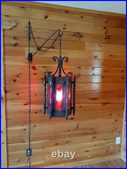 Antique/Vtg Medieval Spanish Tudor GIGANTIC! Hanging Swag Light/Lamp, Gothic 28