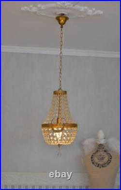 Antique chandelier ceiling lustre crystal lamp France basket candelabra vintage