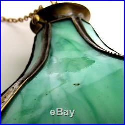 Antique/vintage Green Slag Glass Electrified, Originally Hanging Oil Lamp