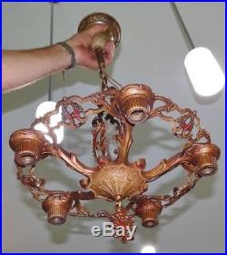 Art Deco Cast Iron Ceiling 5 Light Fixture Hanging Lamp Nouveau Antique Vtg A