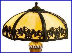 Art Nouveau American Slag Glass & Gilt & Metal Table Lamp, early 1900s