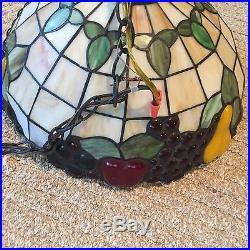 BEAUTIFUL Vintage Tiffany Style Fruit Swag Hanging Lamp