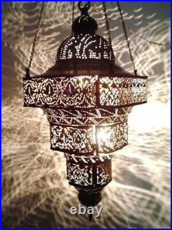BR124 Antique Moroccan Style Pierced Hand-Engraved Large Hanging Lamp / Light