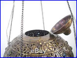 BR258 Vintage Handmade Jeweled Moroccan Large Brass Ball hanging Lamp / Light