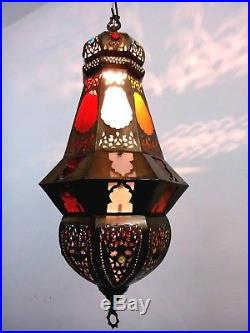 BR358 Vintage Reproduction Octagonal Moroccan / Egyptian Art Brass Hanging Lamp