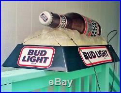 BUD LIGHT vtg barware pool hall tavern light hanging lamp sign beer bottle art