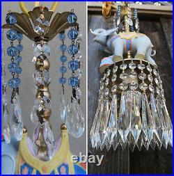 Beaded porcelain Carousel Elephant Carousel Lamp SWAG Chandelier Vintage Circus