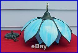 Beautiful Vintage 2-part Hanging Blue & White Leaded Slag Glass Hanging Lamp